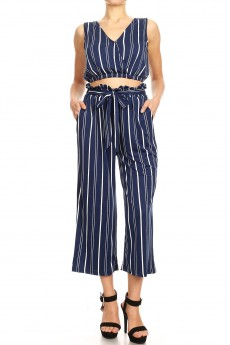 NAVY/WHITE STRIPE PRINT CROSS OVER TOP & PAPERBAG PANT SET#9SET06-SP18