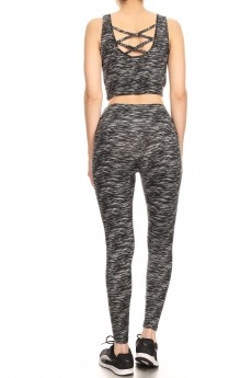 BLACK/WHITE SPACE DYE PRINT BRUSH POLY CRISS CROSS TANK & CROPPED LEGGING SET #9SET10-SD06