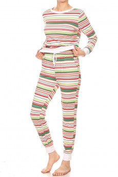 WHITE/GREEN/RED STRIPE PRINT BRUSH POLY LONG SLEEVE TOP AND JOGGER SET#9SET18-HL13