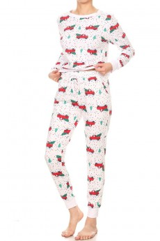 WHITE/RED/GREEN TREE TRUCK PRINT BRUSH POLY LONG SLEEVE TOP AND JOGGER SET#9SET18-HL15