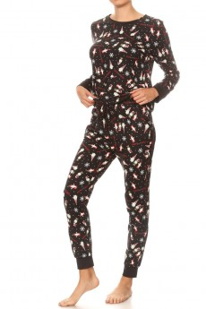 BLACK/RED/WHITE GNOME PRINT BRUSH POLY LONG SLEEVE TOP AND JOGGER#9SET18-HL17