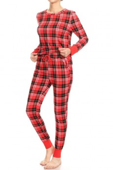 RED/BLACK PLAID PRINT FLEECE LINED BRUSH POLY CONTRAST CUFF LONG SLEEVE TOP AND JOGGER SET#9SET19-HL19
