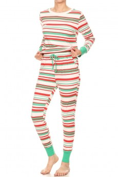 WHITE/GREEN/RED STRIPE PRINT FLEECE LINED BRUSH POLY CONTRAST LONG SLEEVE TOP AND JOGGER SET#9SET19-HL20