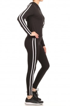 LONG SLEEVE HOODIE CROPPED TOP AND LEGGING W/ SIDE STRIPES#9SET20