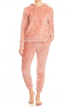 DOUBLE SIDE PLUSH PULLOVER HOODIE & JOGGER SET#9SET22