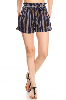 NAVY/PINK/WHITE STRIPE PRINT PAPERBAG SHORTS W/ SASH#9SH06-SP05A