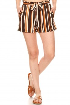 BROWN/CREAM STRIPE PRINT PAPERBAG SHORTS W/ SASH#9SH06-SP12