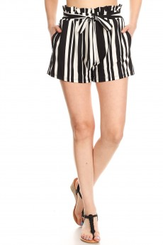 BLACK/WHITE STRIPE PRINT PAPERBAG SHORTS W/ SASH#9SH06-SP13