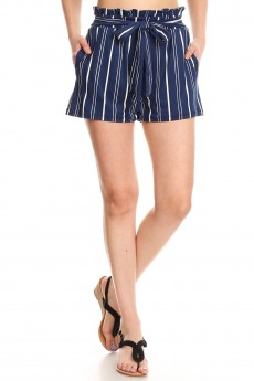 NAVY/WHITE STRIPE PRINT PAPERBAG SHORTS W/ SASH#9SH06-SP18