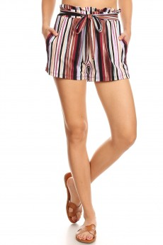 MULTI COLOR STRIPE PRINT PAPERBAG SHORTS W/ SASH#9SH06-SP20