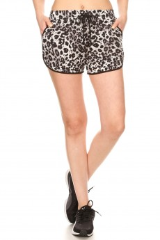 BLACK/GREY/WHITE ANIMAL PRINT TRACK SHORTS#9SH14-SK02A