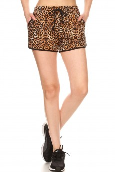BROWN/BLACK ANIMAL PRINT TRACK SHORTS#9SH14-SK03