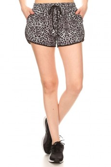 BLACK/GREY ANIMAL PRINT TRACK SHORTS#9SH14-SK03A