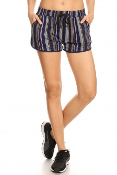 NAVY/MULTI STRIPE PRINT TRACK SHORTS#9SH14-SP05A