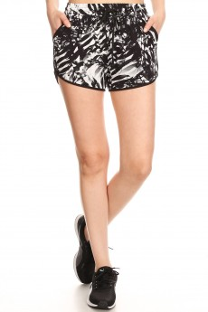 BLACK/WHITE TROPICAL PRINT TRACK SHORTS#9SH14-TP02