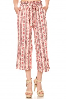 CREAM/PINK FLORAL PRINT CROPPED PAPER BAG WIDE LEG PANTS#9SLP02-BH01