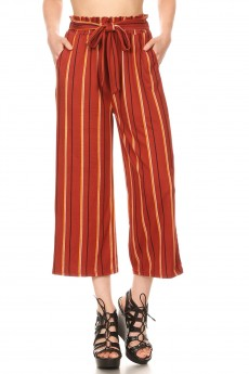 RUS/MUS STRIPE PRINT CROPPED PAPER BAG WIDE LEG PANTS#9SLP02-SP02