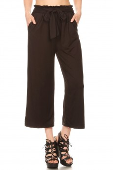 BRUSH POLY CROPPED PAPERBAG STRAIGHT LEG PANTS#9SLP02