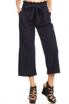 NAVY/WHITE KNIT TWILL CROPPED PAPERBAG STRAIGHT LEG PANTS#9SLP03-SP28A