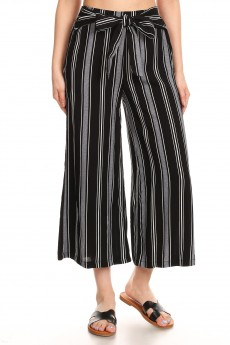 BLACK/WHITE/HEATHER GREY STRIPE PRINT CROPPED WIDE LEG PANTS W/ SASH#9SLP04-SP01A