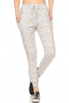 LIGHT GREY SPACE DYE PRINT BRUSH POLY JOGGER WITH SIDE PANEL PKT#9TRK02-SD07