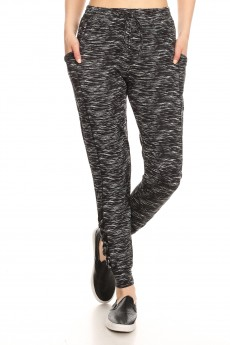 HEATHER CHARCOAL SIDE POCKET SPORT JOGGER W/ MESH & CRISS CROSS STRAPS#9TRK12-SD06