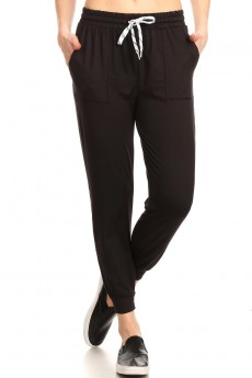 BRUSH POLY CROPPED JOGGER W/ WAIST TIE#9TRK14