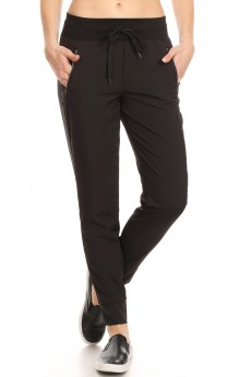 BLACK STRETCH WOVEN JOGGER WITH ZIPPER POCKETS #9TRK18