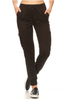 BLACK SOFT FRENCH TERRY CARGO JOGGER#9TRK23