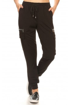 DOUBLE-FACE STRETCH KNITS CARGO JOGGER W/ ZIPPER DETAIL#9TRK29