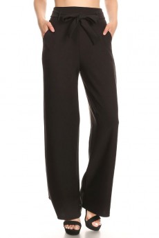 BLACK KINT HIGH WAIST WIDE LEG PANT W/ SASH#9WLP04