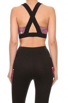 SPACE DYE & MESH BRA TOP WITH ELASTIC STRAPS AND BAND #A6BR04