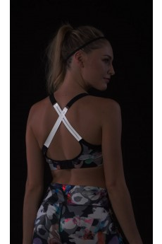 MULTI-COLOR ABSTRACT GEO BRA TOP W/ REFLECTIVE STRAPS #A6BR06-02