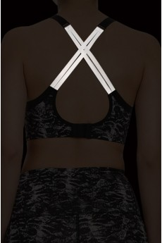 BLACK/GREY ABSTRACT ANIMAL BRA TOP W/ REFLECTIVE STRAPS #A6BR06-05