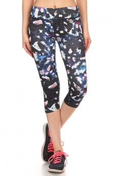 MULTI-COLOR ABSTRACT PAINTBRUSH PRINT ACTIVE CAPRIS #A6CP12-04