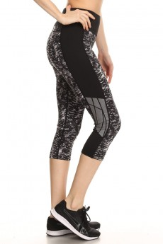 BLACK/GREY ANIMAL PRINT CAPRIS WITH REFLECTION TAPE PANELS #A7CP01-02