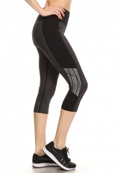 HEATHER CHARCOAL/BLACK CAPRIS WITH REFLECTION TAPE PANELS #A7CP01