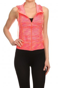 HEATHER CORAL/CORAL ACTIVEWEAR SLEEVELESS ZIP-UP HOODIE #AHD15N107