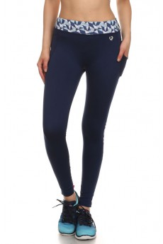 NAVY/BLUE TRIANGLE PRINT ACTIVE LEGGING W/ SIDE PHONE POCKET #ASL15N200