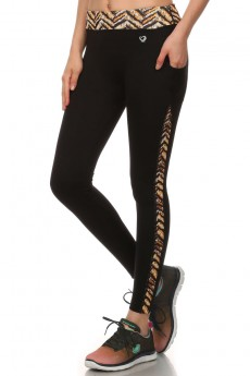 BLACK/ANIMAL PRINT ACTIVE LEGGING W/ SIDE PHONE POCKET #ASL15N203