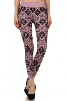 Bohemian diamond wall paper print flocking seamless fleece-lined leggings #FLK15FL03