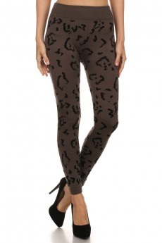 ANIMAL PRINT FLOCKING SEAMLESS FLEECE LEGGING #FLK15FL14