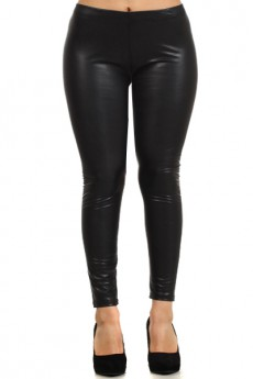 PU FLEECE LEGGINGS BLACK Plus size #FLP8015