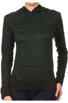 BLACK/PEACOCK ABSTRACT JACQUARD LSLV HOODIE W/ KANGAROO POCKET #HD15FL24