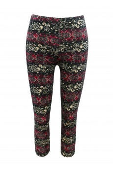 KIDS BLACK/CREAM/RED PAISLEY PRINT BRUSHED POLY LEGGING(4/5, 6/6X) #K6L09-01