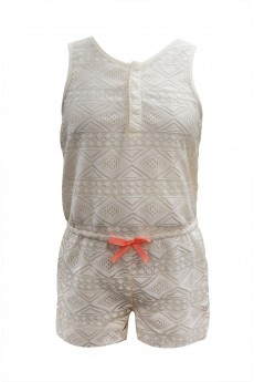 KIDS LACE ROMPER WITH HOT PINK BOW TIE (7/8, 10/12) #XK6RMP09-02