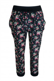 KIDS BLK/GRN/RED FLORAL PRINTED JOGGER W/ CONTRAST WB & CUFF(4/5, 6/6X)#K6TRK06-01