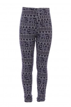 NVY/WHT ELEPHANT PRINT FLEECE-LINED LEGGING (4/5, 6/6X) #K7L145-03