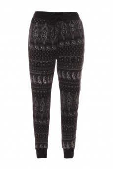 KIDS BLACK/WHITE PAISLEY PRINT FLEECE-LINED SWEATER KNIT JOGGER(4/5, 6/6X)#K7TRK16-01