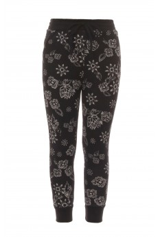 BLACK/WHITE FLORAL PRINT FLEECE-LINED SWEATER KNIT JOGGER(4/5, 6/6X)#K7TRK16-07